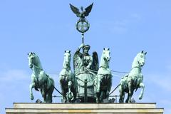 Quadriga on top of the Brandenburger Tor, Berlin, Brandenburg, Germany, Europe - stock photo