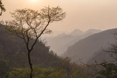 Sunset landscape near Pyin Oo Lwin (Pyin U Lwin), Mandalay Region, Myanmar - stock photo