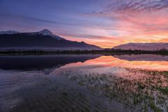 Natural reserve of Pian di Spagna flooded with Mount Legnone reflected in the - stock photo