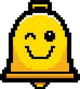 Winking 8-Bit Cartoon Bell - stock illustration