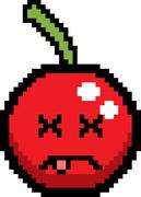 Dead 8-Bit Cartoon Cherry Stock Illustration