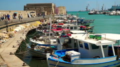 Harbour of Heraklion Crete - stock footage