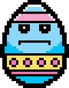 Serious 8-Bit Cartoon Easter Egg Stock Illustration
