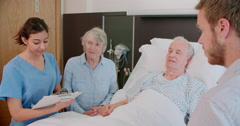 Doctor Talking To Senior Male Patient And Wife In Hospital - stock footage