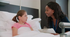 Child Patient In Bed Talking To Doctor In Hospital Room Stock Footage