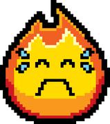 Crying 8-Bit Cartoon Flame - stock illustration