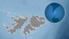 Falkland Islands and Globe. Set of five animations plus matte Stock Footage