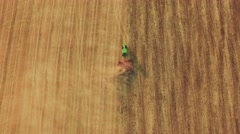 Agriculture Tractor Ploughing Field Aerial Footage Cultivation Dirt Farming - stock footage