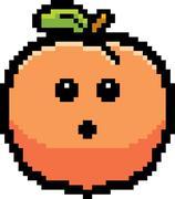 Surprised 8-Bit Cartoon Peach - stock illustration
