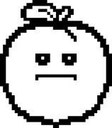 Serious 8-Bit Cartoon Peach - stock illustration