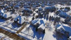 Upper Class Neighborhoods, Houses Under Deep Blizzard Snow Stock Footage