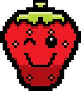 Winking 8-Bit Cartoon Strawberry - stock illustration