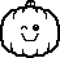 Winking 8-Bit Cartoon Pumpkin - stock illustration