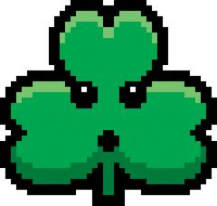Surprised 8-Bit Cartoon Shamrock - stock illustration