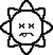Dead 8-Bit Cartoon Sun - stock illustration