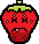Dead 8-Bit Cartoon Strawberry - stock illustration