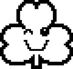 Winking 8-Bit Cartoon Shamrock Stock Illustration
