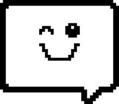 Winking 8-Bit Cartoon Word Balloon - stock illustration