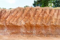 Lateritic soil cross section Stock Photos