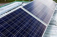 surface of the a solar panel closeup - stock photo