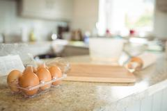 View of egg on the kitchen table Stock Photos