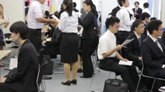 College students attend a job career fair in Tokyo Japan Stock Footage