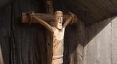 Traditional wooden scupture for a crucifix Stock Photos