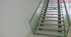 Staircase to the first floor of a modern business interior Stock Footage