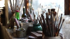 Paint Brushes on the windowsill Stock Footage
