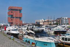 Marina harbor with yachts near museum MAS in Antwerp, Belgium Stock Photos
