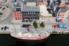 Aerial view of Antwerp port area with lightship, Belgium - stock photo