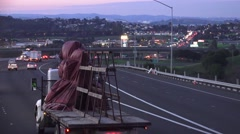 Night freeway driving, truck with cargo on flatbed Stock Footage