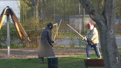 Sword Fighting Cosplay Practice Stock Footage