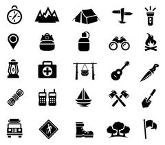 Camping, Outdoor Activity, Recreation, Icons - stock illustration