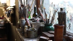 Art concept. The tools of an artist Stock Footage