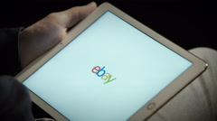 Close up of ebay's website on a ipad screen - stock footage
