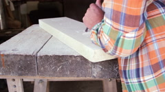 Stone Mason At Work On Carving In Studio Shot On RED Camera - stock footage