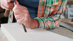 Slow Motion Shot Of Stone Mason At Work On Carving In Studio - stock footage