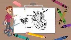 Heart - drawing board - student Stock Footage