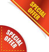 Special offer. Template for your design. Angle red and gold letters. Design e Stock Illustration