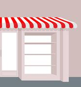 Stock Illustration of Storefront with striped roof. Red and white stripes of canopy over counter. E