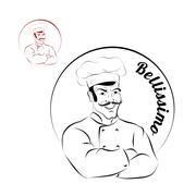 Italian chef. logo for restaurant. Bellissimo. Sign for a bakery or Cafe. Che Piirros