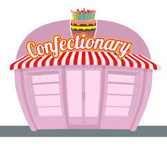 Confectionary shop. Sweets shop. Signage celebratory cake. Fun sweets and cak - stock illustration