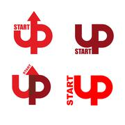 Start UP set logo. Emblem to start business projects. Up arrow. beginning of  - stock illustration