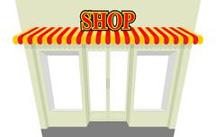 Shop. Storefront with visor. Isolated shop building. An empty counter. NET sh Stock Illustration