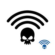 Wifi Death. Wireless transmission of death. Remote access of death. Wi-fi Wir - stock illustration