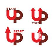 Startup logo. Character set for commencement of business. Red up arrow. Begin - stock illustration