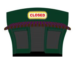 Shop is closed. Glow plaque on facade of store. Shop building at night. Windo Stock Illustration