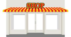 Store showcase. Facade of  shop building. Storefront with striped awning. - stock illustration