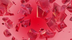 Abstract flying pieces in red color Stock Footage